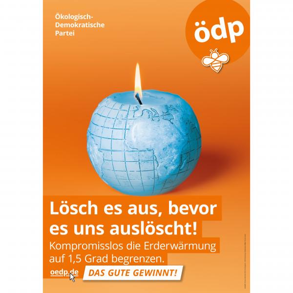 """A1 Hohlkammer-Plakat """"Lösch es aus, bevor es uns auslöscht!""""-Kerze in Blau"""