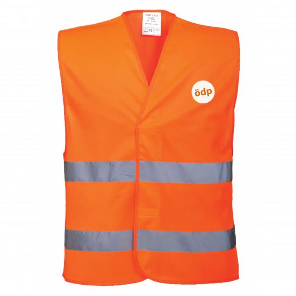 Warnweste in Orange mit ÖDP-Logo